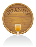 wooden brandy barrel and glass vector illustration EPS10
