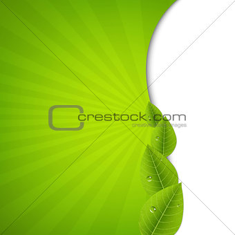 Green Burst Poster With Leaves