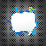 Metal Background With Speech Bubble And Bird