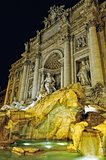 Night lighting of Trevi fountain in Rome,