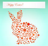 Easter illustration spring flowers rabbit shape