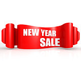 New year sale red wave ribbon