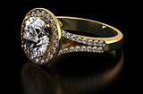 Diamond ring on black