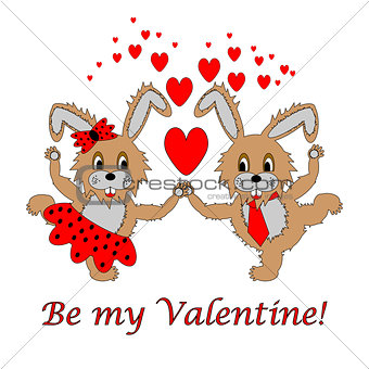 "A couple of funny cartoon rabbits with text ""Be my Valentine"""