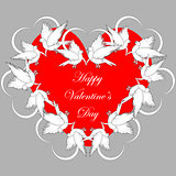 A red heart decorated with flying white doves and smaller hearts