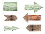 collection of various empty wooden sign on white background