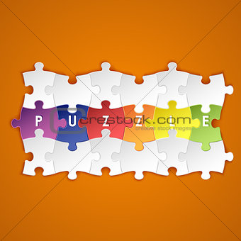 Abstract colored group puzzle background