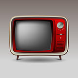 Old red retro television
