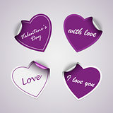 Valentine violet heart stickers