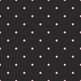 Seamless vector pattern with pastel pink polka dots on black background.