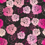 Seamless dark floral vector pattern with pink and white retro roses on black background.