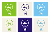 Light bulbs vector icon set on green, beige, blue and navy isolated on white background.