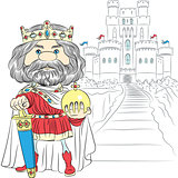 vector cartoon King Charles the First in the crown, with the swo