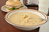 chicken cheese soup with a sandwich