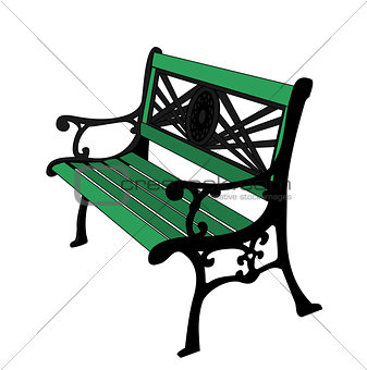 Green painted Bench.