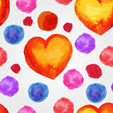 Vector Seamless Pattern with Watercolor Hearts and splashes