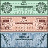 Summer calendar 2014 with mayan ornaments