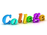 college 3d word colour bright letter