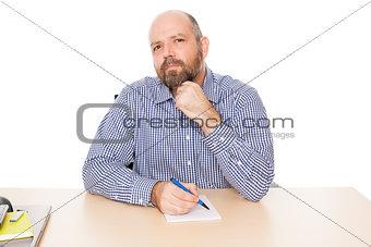 bearded thinking man