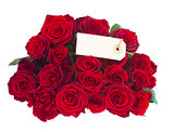 bouquet of dark  red roses with tag
