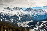 Aerial View on Ski Resort of Madonna di Campiglio, Italian Alps,