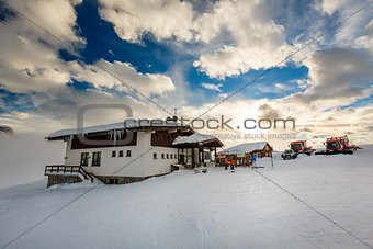 Ski Restaurant in Madonna di Campiglio Ski Resort, Italian Alps,