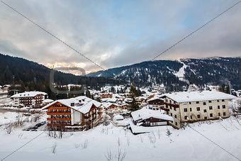 Ski Resort of Madonna di Campiglio in the Morning, Italian Alps,
