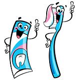 Happy toothpaste and toothbrush characters