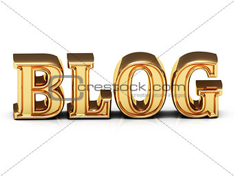 3d inscription BLOG golden bright letter