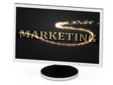 MARKETING 3d inscription with luminous spark on screen