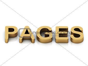 PAGES 3d inscription large golden letter