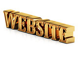 3d inscription WEBSITE golden bright letter