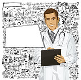 Vector Doctor Man With Clipboard
