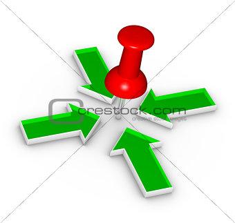 Thumbtack and arrows