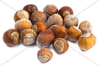 Fistful of brown hazel nuts isolated with white background