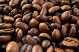 Macro of coffee beans background close up