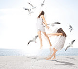 Young girl with seagulls, separation of the soul concept