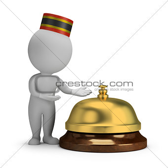 3d small people - bellboy and service bell