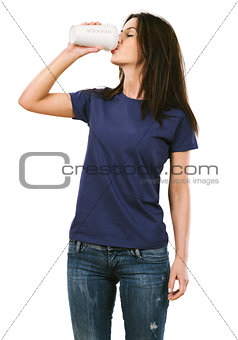 Woman with blank purple shirt drinking coffee