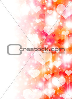 Abstract background of white hearts