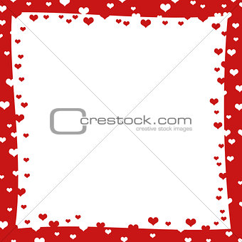 Abstract frame with red hearts
