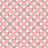 Seamless vector pattern with polka dots. Colorful background in white, grey and pink