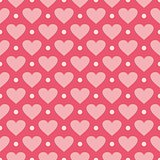 Pink vector background with hearts and polka dots.