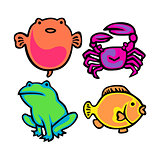 Cute Water Animal Vector Pack