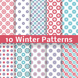 Light winter romantic vector patterns (tiling).