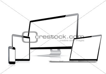 Modern web design vector template with laptop, tablet, smartphone, computer isolated on white