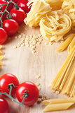Tomatoes, spaghetti and pasta