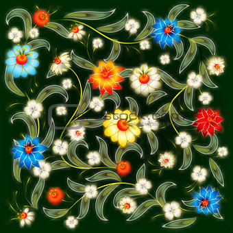 abstract dark background with floral ornament