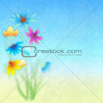 abstract grunge composition with flowers on blue