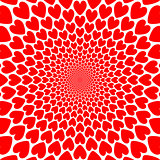 Design red heart twirl perspective background. Valentines Day ca